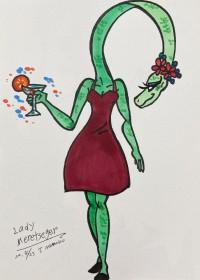 絵描きカエルのイラスト